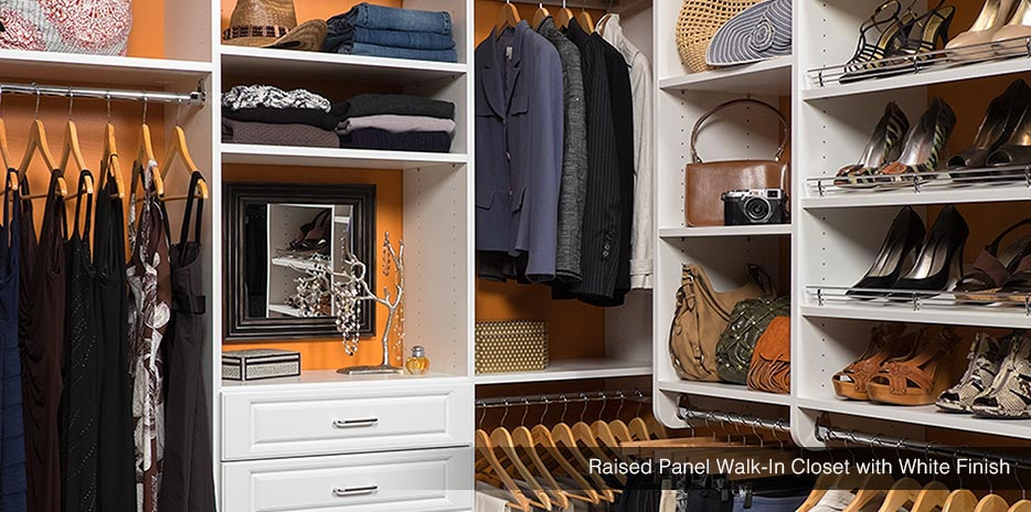 Amazing Chocolate Pear Walk In Custom Closet System Raised Panel Walk In Closet  With White Finish ...