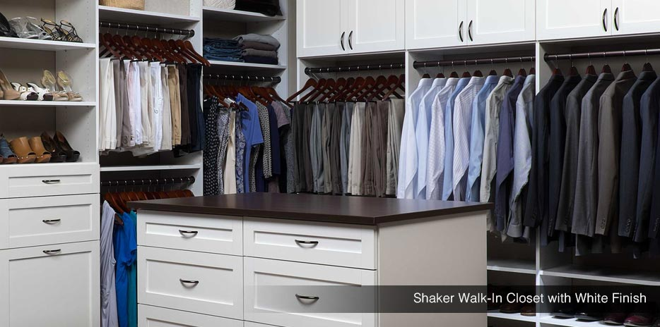 Shaker Walk-In Closet with White Finish