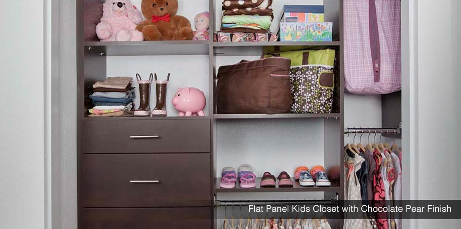 Flat Panel Kids Closet with Pear Finish