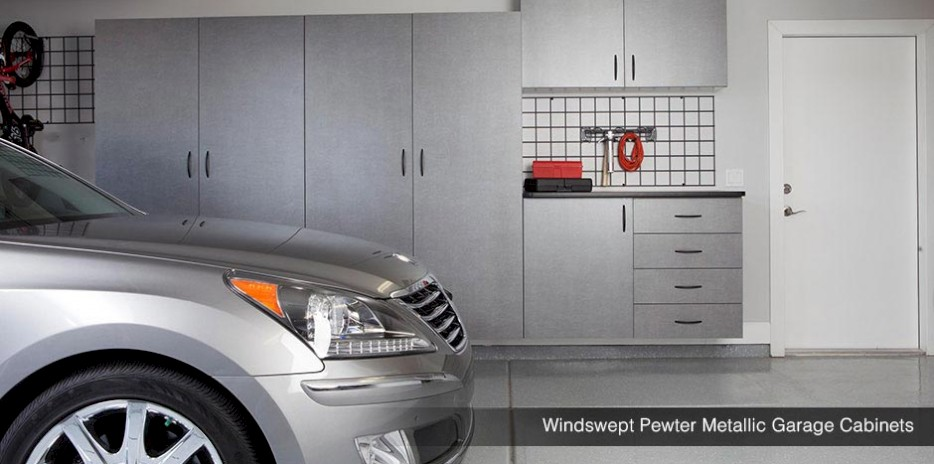Windswept Pewter Matallic Garage Cabinets