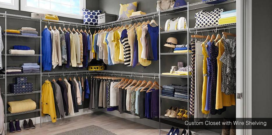 Custom Wire Shelving Walk In Closet With